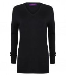 Image 3 of Henbury Ladies Acrylic V Neck Sweater