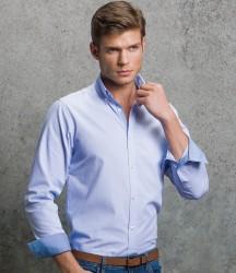 Kustom Kit Clayton & Ford Micro Check Long Sleeve Poplin Shirt image