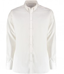 Image 2 of Kustom Kit Slim Fit Stretch Long Sleeve Oxford Shirt