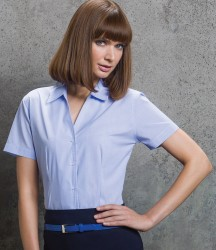 Kustom Kit Ladies Pinstripe Short Sleeve Tailored Shirt image