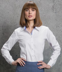 Kustom Kit Ladies Premium Long Sleeve Contrast Tailored Oxford Shirt image