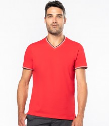 Kariban Tipped Piqué V Neck T-Shirt image