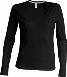 Kariban Ladies Long Sleeve V Neck T-Shirt image