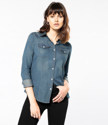Kariban Ladies Long Sleeve Denim Shirt image