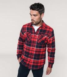 Kariban Sherpa Lined Checked Shirt Jacket image