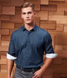 Premier Long Sleeve Denim-Pindot Shirt image