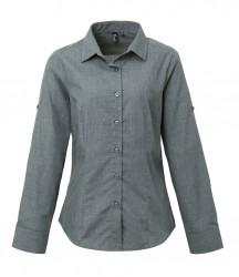 Premier Ladies Cross-Dye Roll Sleeve Shirt image