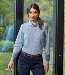 Premier Ladies Long Sleeve Striped Oxford Shirt image