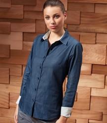 Premier Ladies Long Sleeve Denim-Pindot Shirt image