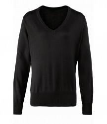 Image 2 of Premier Ladies Knitted Cotton Acrylic V Neck Sweater