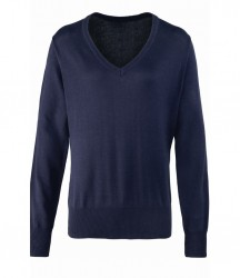 Image 3 of Premier Ladies Knitted Cotton Acrylic V Neck Sweater