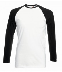 Image 4 of Fruit of the Loom Contrast Long Sleeve Baseball T-Shirt