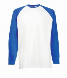 Image 2 of Fruit of the Loom Contrast Long Sleeve Baseball T-Shirt