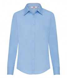 Image 3 of Fruit of the Loom Lady Fit Long Sleeve Poplin Shirt